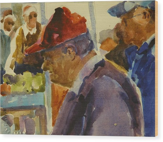 Old Man At The Market Wood Print by Walt Maes