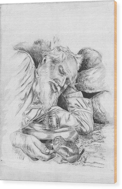 Old Man Feeding Chipmunk Wood Print by Samuel Showman