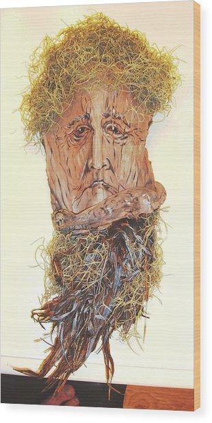 Old Man In A Tree Wood Print by Ellen Burns