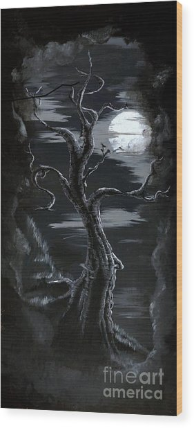 Old Man Tree And Goddess Moon Wood Print