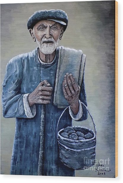 Old Man With His Stones Wood Print