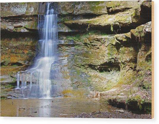 Old Man's Cave Waterfall Wood Print