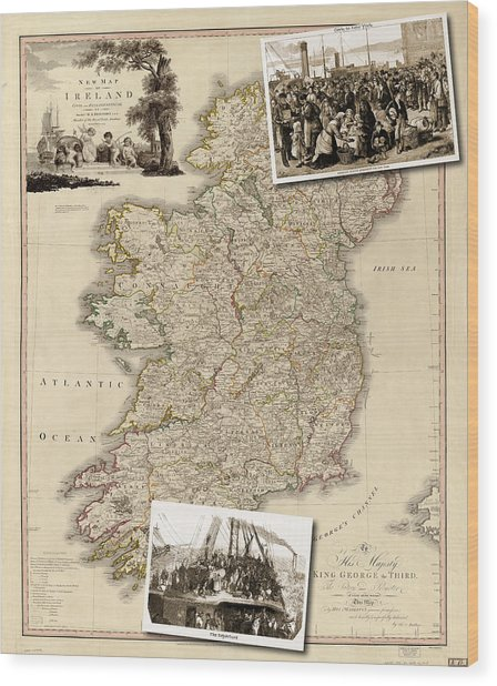 Vintage Map Of Ireland With Old Irish Woodcuts Wood Print
