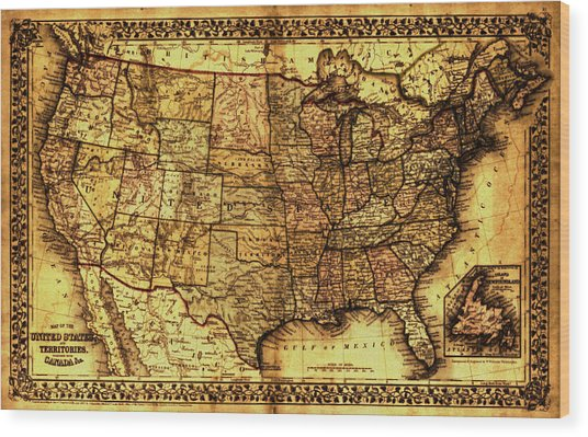Old Map United States Wood Print