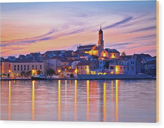 Old Mediterranean Town Of Betina Sunset View Wood Print
