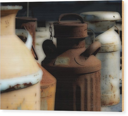 Old Milk Cans Wood Print by Danielle Miller