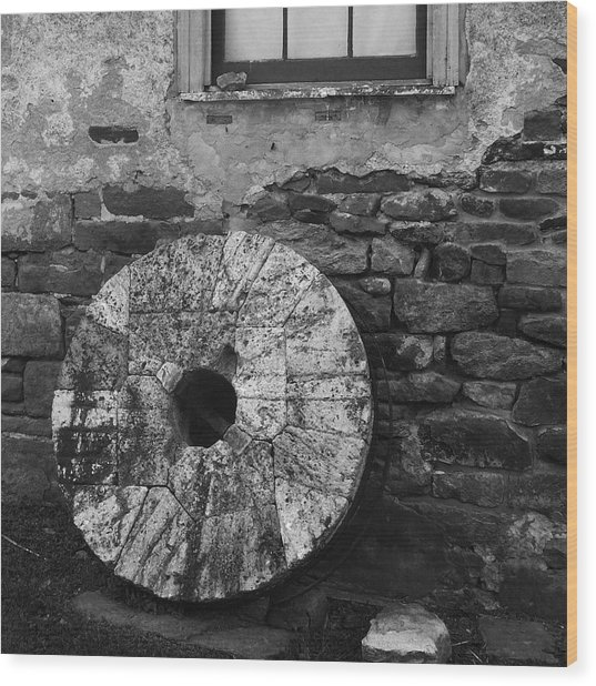 Old Mill Stone Wood Print
