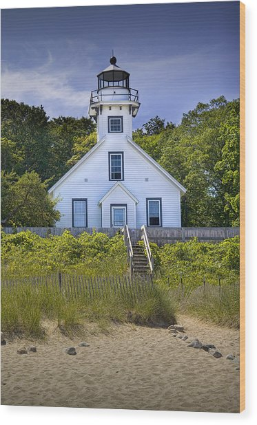 Old Mission Point Lighthouse In Grand Traverse Bay Michigan Number 2 Wood Print