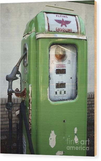 Old National Gas Pump Wood Print by DazzleMePhotography