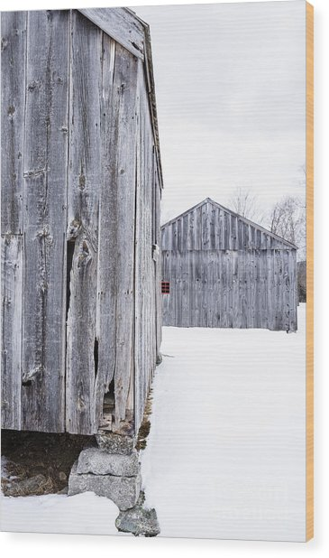 Wood Print featuring the photograph Old New England Barns Winter by Edward Fielding