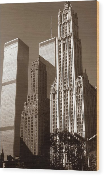 Old New York Photo - Woolworth Building And World Trade Center Wood Print