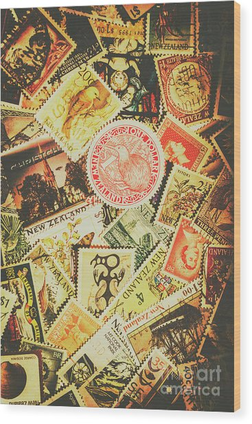Old New Zealand Stamps Wood Print