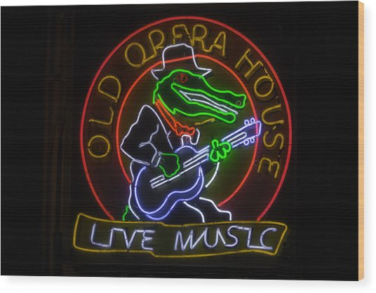 Old Opera House Neon Sign Wood Print