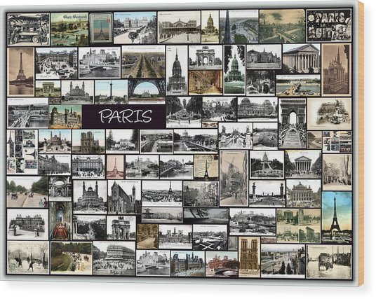 Old Paris Collage Wood Print by Janos Kovac