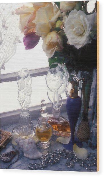 Old Perfume Bottles Wood Print