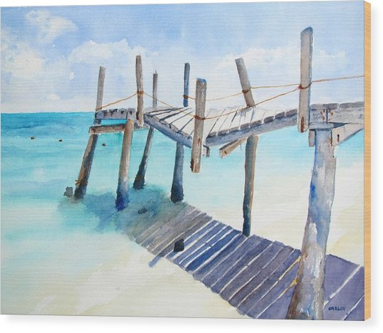 Old Pier On Playa Paraiso Wood Print