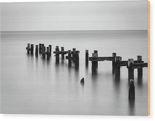 Old Pilings Black And White Wood Print