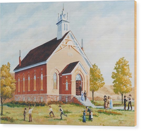 Old Porterville Church Summer Wood Print by JoAnne Corpany