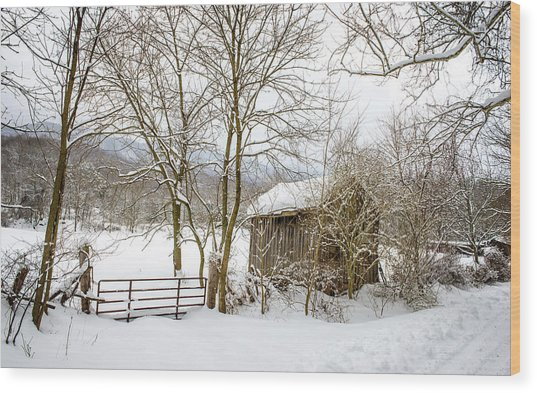 Old Post Office In Snow Wood Print
