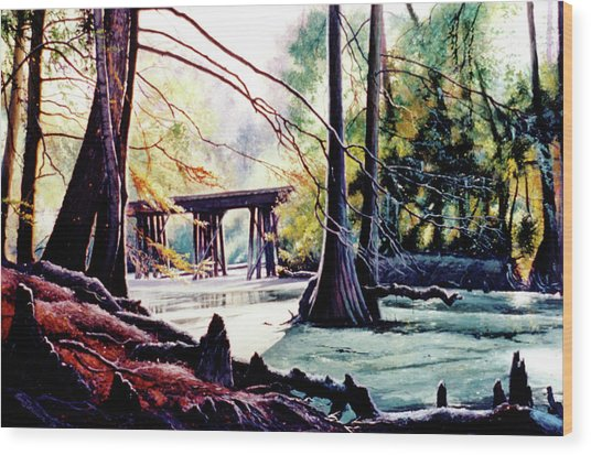 Old Railroad Bridge Wood Print