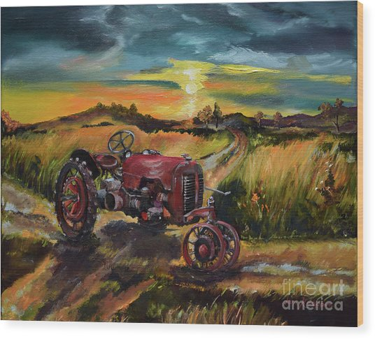 Old Red At Sunset - Tractor Wood Print