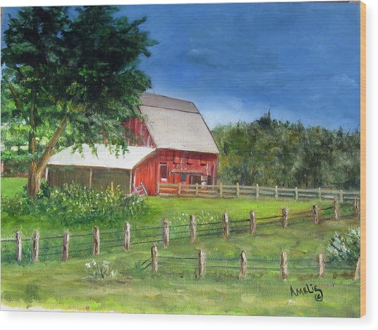 Old Red Barn Wood Print by Amelie Gates