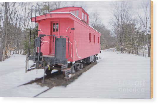 Wood Print featuring the photograph Old Red Caboose In Winter Tilt Shift by Edward Fielding