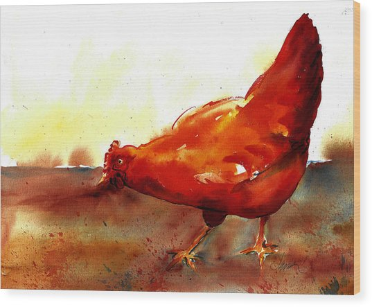 Picking With The Chickens Wood Print