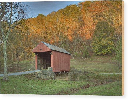 Old Red Or Walkersville Covered Bridge Wood Print
