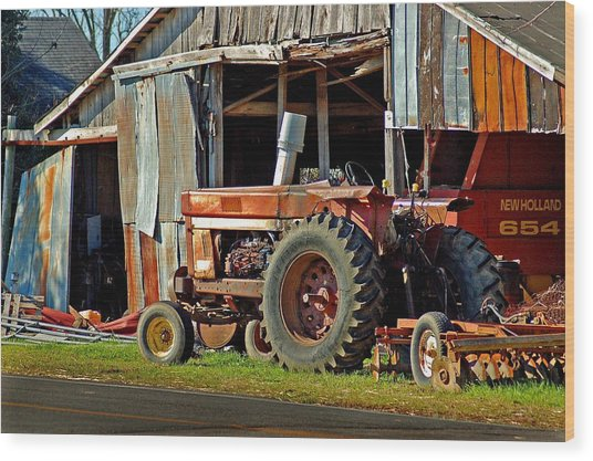 Old Red Tractor And The Barn Wood Print