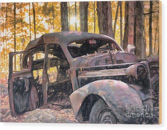 Old Relic In The Woods Wood Print