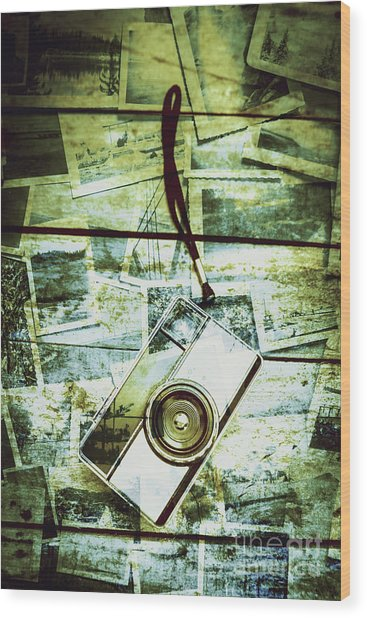 Old Retro Film Camera In Creative Composition Wood Print