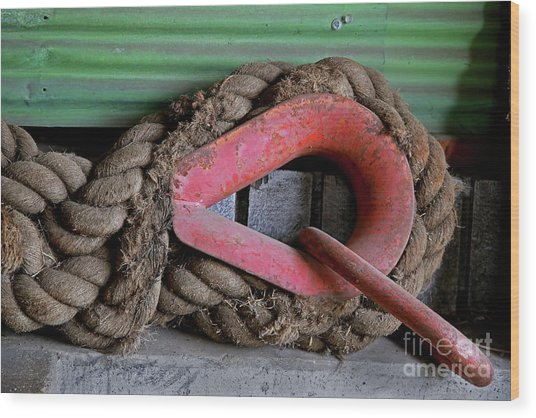 Old Rope And Shackle Wood Print