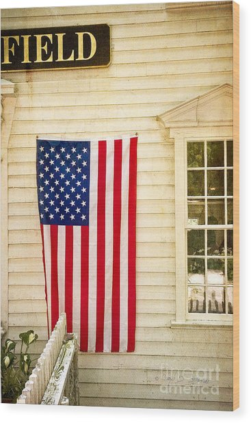 Old Rugged Field Flag Wood Print
