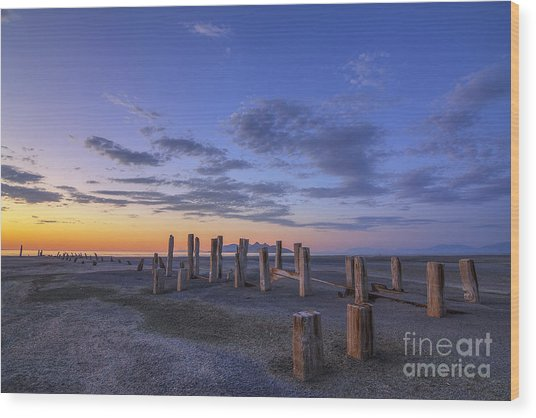 Old Saltair Posts At Sunset Wood Print