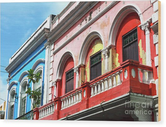 Old San Juan Balcony Wood Print by John Rizzuto