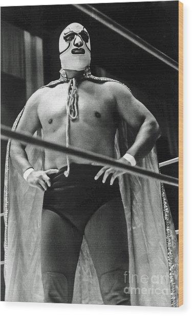 Old School Masked Wrestler Luchador Wood Print