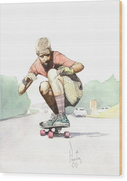 Old School Skater Wood Print by Preston Shupp