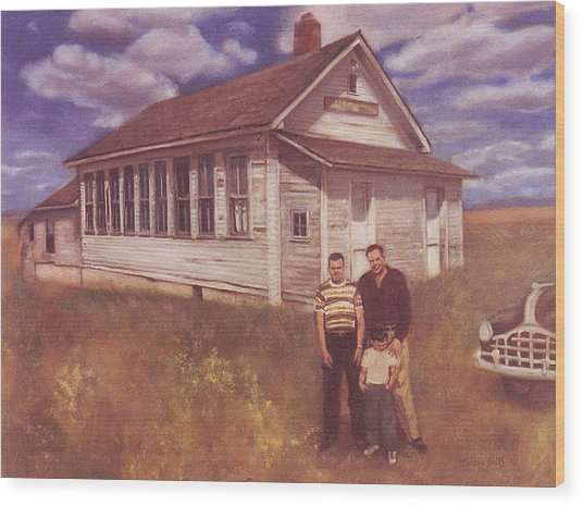 Old Schoolhouse Revisited Wood Print