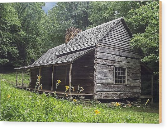 Old Settlers Cabin Smoky Mountains National Park Wood Print
