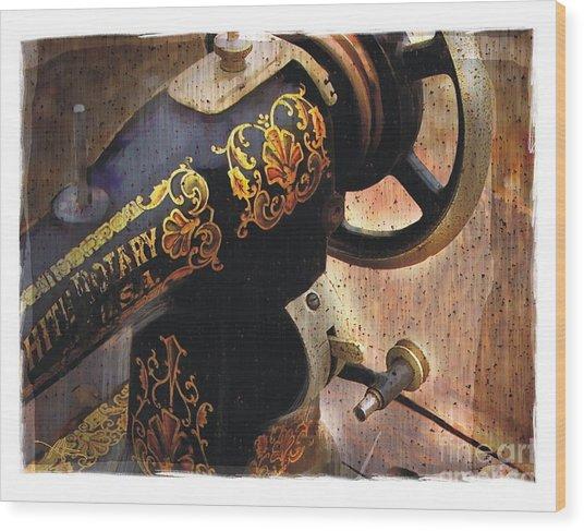 Old Sewing Machine Wood Print