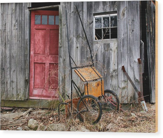 Old Shed Red Door And Pony Cart Wood Print