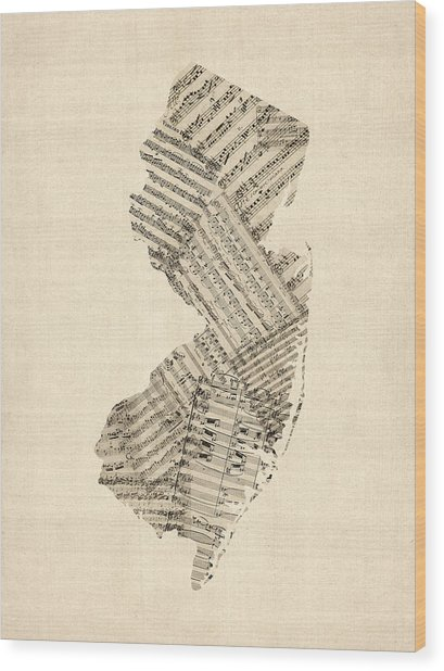 Old Sheet Music Map Of New Jersey Wood Print