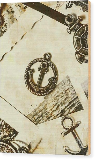 Old Shipping Emblem Wood Print