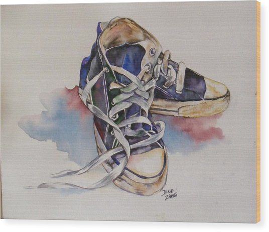 Old Shoes Wood Print
