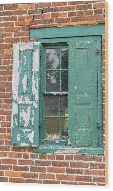 Old Shuttered Door Wood Print