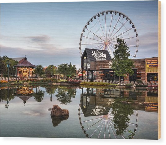 Ole Smoky Tennessee Moonshine Reflection Wood Print