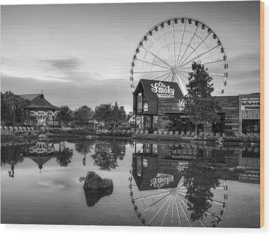 Ole Smoky Tennessee Moonshine Reflection In Black And White Wood Print