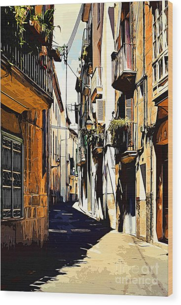 Old Spanish Street Wood Print