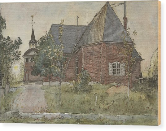 Old Sundborn Church. From A Home Wood Print